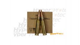 20 cartouches de carabine calibre 7.62x51 .308win type M80 FMJ 147gr