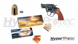 Pack Revolver à blanc Rohm RG59 - cal 9mm avec munitions et fusées
