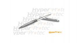 Stylo couteau défense lame mixte anodisé gris