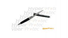 Stylo couteau défense lame mixte anodisé noir