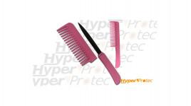 Peigne à cheveux rose self defense avec couteau caché