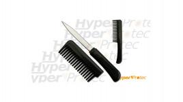 Peigne à cheveux noir self defense avec couteau caché