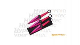 3 Couteaux de lancer Pink lady precision kunai édition rose