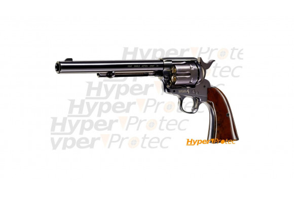 Revolver à plombs CO2 Colt SAA .45 full metal canon long finition bleui - cal 4.5mm