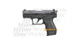 Walther P22 noir culasse métal - pistolet alarme 9 mm