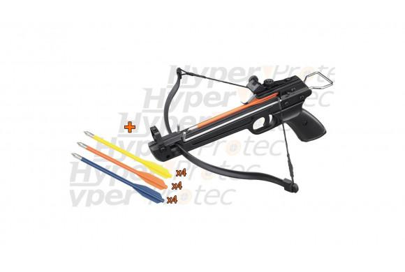 Pack Pistolet arbalète 50Lbs aluminium + 12 flèches