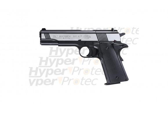 Colt Government 1911 A1 Dark Ops culasse nickel - Pistolet à plomb