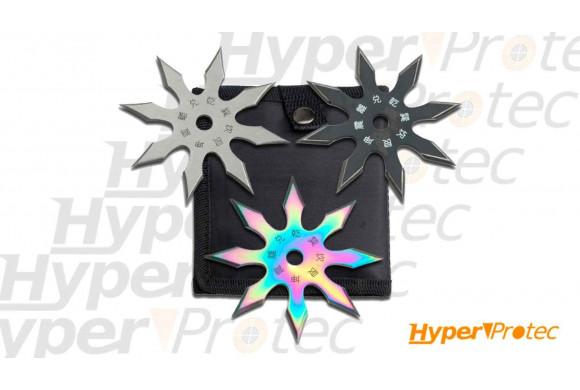 Set de 3 shurikens Perfect Point dans étui en nylon noir