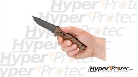 Couteau automatique Strike Coyote avec une lame mixte tanto