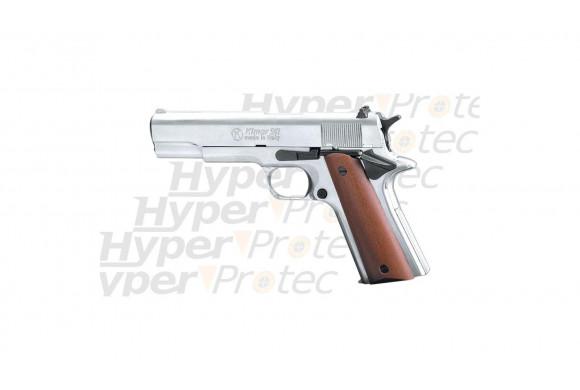 Pistolet Colt 911 à blanc 9 mm - chromé crosse bois