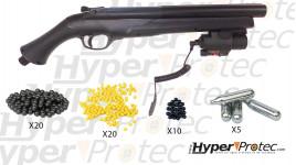 Pack de défense Fusil HDS 68, puissance 16 joules tir balle caoutchouc calibre 68