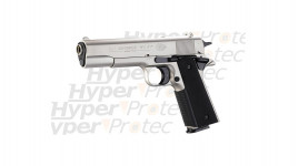 Colt Government 1911 A1 - Pistolet alarme nickel chrome mat