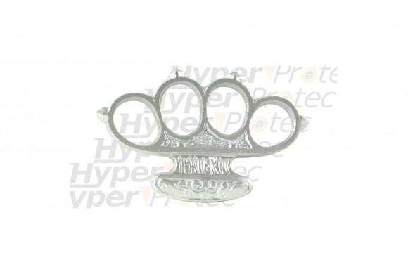 Poing américain Boxer aluminium gris avec pics