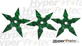 Set de 3 étoiles de jet verte avec tête de mort dans étui en cordura