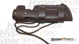 Etui en cuir 19 cm marron pour poignard de chasse