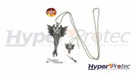 Collier avec pendentif en forme de tête de dragon avec lame caché