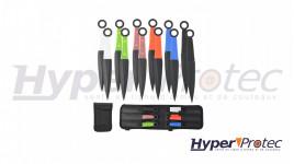 Set de 12 kunais à lancer avec manche de différentes couleurs