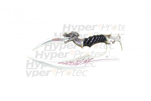 Couteau de décoration Dragon rouge double lame