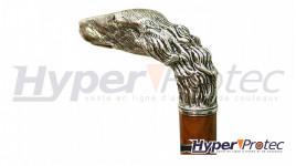 Canne Epée Chien Pommeau Bronze Argenté Lame Cruciforme