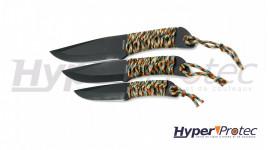 Set de 3 couteaux de lancer de tailles différentes avec étui