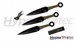 Set de 3 Kunais de lancer noirs avec manche en paracorde camo
