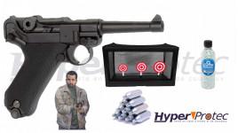 Pistolet à bille KWC P08 en pack prêt à tirer