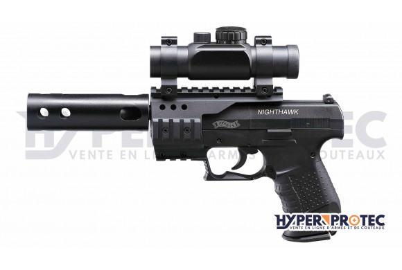 Walther Night Hawk + lunette point rouge + silencieux