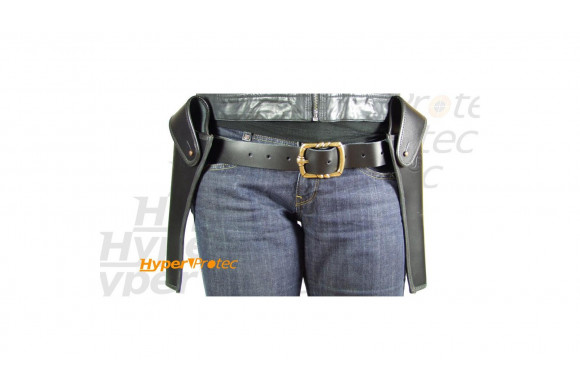 Holster cuir noir de country - 2 poches