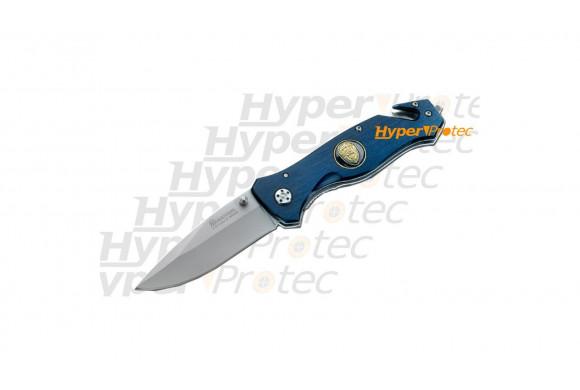 Couteau pliant Police bleu anti dérrapant