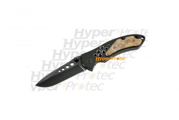Couteau lame lisse noire - Woodek