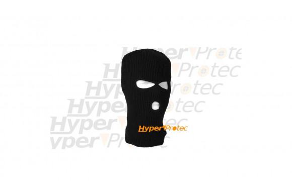 Cagoule 3 trous - noire maille épaisse Protection du visage
