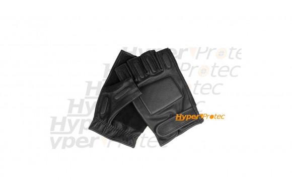 Mitaines (gants sans doigt) noires en cuir - Taille M