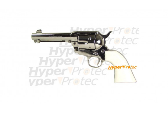 Colt 1873 nickel crosse ivoirine 12 cm - revolver alarme