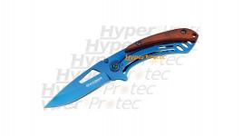 Petit couteau fin pliant bleu métal et bois