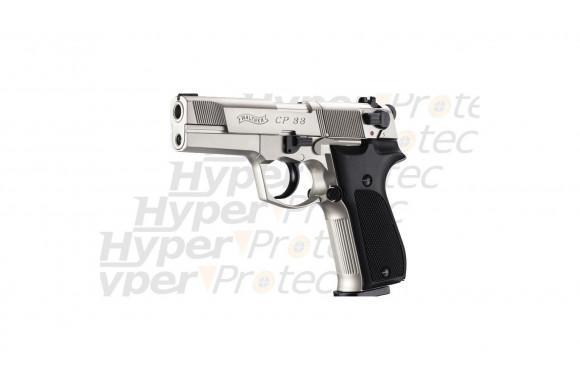 CP88 nickel crosse noire - Pistolet à plombs 4 pouces