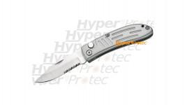 Couteau automatique gris lame lisse et crantée