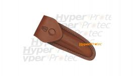Etui en cuir brun pour couteau avec bouton pression Laguiole
