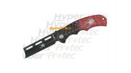 Couteau lame de rasoir Araignée rouge et noire