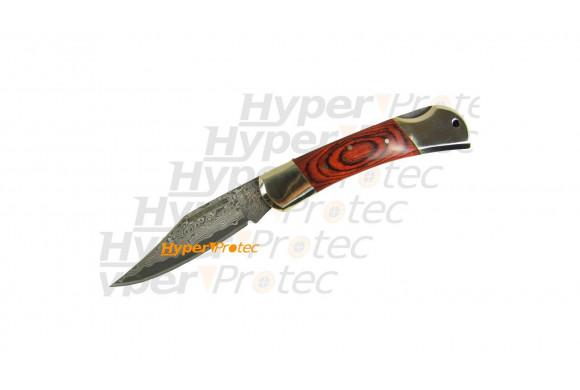 Couteau lame Damas avec 2 mitres dorés