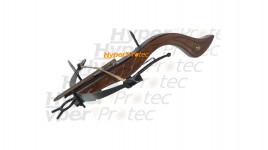 Petit pistolet arbalète décoration en bois et métal + flèche