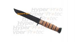Poignard de chasse avec manche en bois genre rondelles de cuir