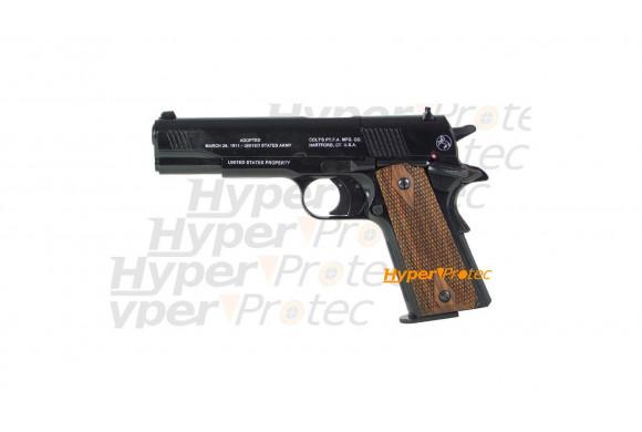 Colt M1911 noir crosse bois Anniversaire 100 ans - Plombs 4.5mm
