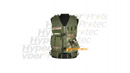 Gilet airsoft tactical camo pour droitier 6 poches + holster