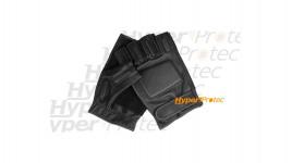 Mitaines (gants sans doigt) noires en cuir - Taille XL