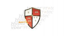 Bouclier blanc et rouge avec lions et lys doré Médiéval de déco