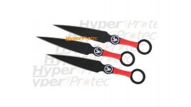 Ensemble de 3 kunaï noirs avec manche rouge - 15 cm
