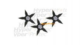3 étoiles de jet ninja 5 branches avec pochette