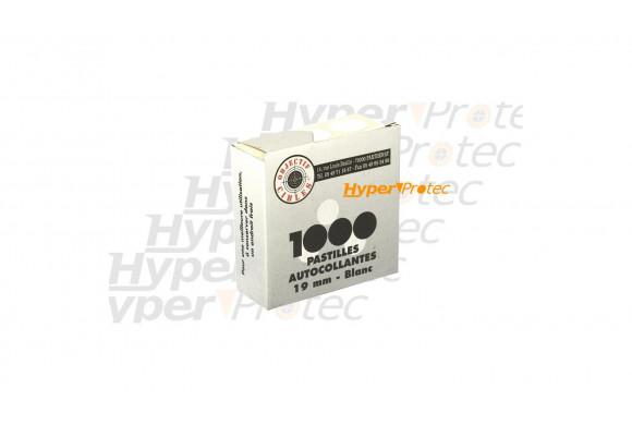 1000 pastilles blanches autocollantes Diamètre 15 mm pour cible