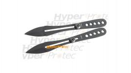 2 couteaux de lancer noirs identiques réglables - 21 cm