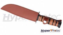 Poignard Virginia Combat manche en cuir tressé - 31 cm